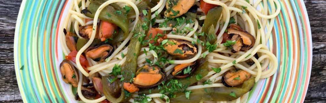 spaghetti cozze peperoni